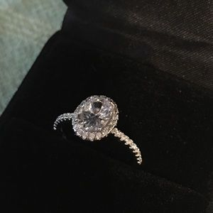 Jewelry - Real pure solid silver engagement wedding ring